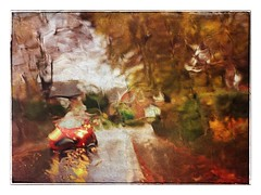 Rainy autumn morning No. 3 (andypf01) Tags: abstract distortion rain water trees blur autumn colour frame mood atmosphere texture liquid liquify cars wet glass