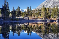 On a beautiful day in California's High Sierra (PeterThoeny) Tags: rockcreeklake bishop california mountain mountainside lake water sky day clear outdoor landscape reflection waterreflection mirror mirrorreflection symmetry tree forest serene sony a7 a7ii a7mii alpha7mii ilce7m2 fullframe vintagelens dreamlens canon50mmf095 canon 1xp raw photomatix hdr qualityhdr qualityhdrphotography wood fav200