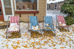 Deckchairs In The Snow, Crested Butte, Colorado, USA (Geraldine Curtis) Tags: snow gunnison colorado usa skiresort crestedbutte october fallcolours yellow gold firtrees mountain deckchairs