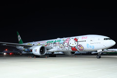 """Eva Air B777-300ER B-16703 """"Hello Kitty"""" parked at TPE/RCTP (Jaws300) Tags: airways taiwantaoyuan gate asia hello kitty special colors evergreen evergreengroup eva evaairways sanrio family hellokittysanriofamily sanriofamily hsstb stored abandoned derelict b16620 taiwantaoyuaninternationalairport air colours cs canon 5d remote stand hellokitty jumbo jet airlines b747400 b747 b744 b777 b773 b777300 b777300er boeing airbus parked parking apron ramp airport taoyuan taipei taiwan rctp tpe airplane aircraft night wide angle wideangle eos international china dynasty freighter cargo freight dark black blacksky sky b16703 orientthai orient thai a320 a321"""