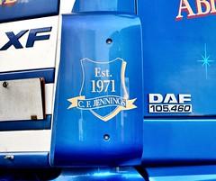 DAF XF - Aberdeen Harbour Scotland - 21/12/2018 (DanoAberdeen) Tags: xf105 daf105 shield seventies 70s amateur candid haulier scania cfjennings dafxf105 105460 motif plaque pin badge x99cfj xf daf lorry truck transport danoaberdeen 2018 haulage truckfest dafxf