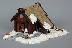 CCC XVI: Norse Longhouse (-soccerkid6) Tags: lego moc creation build scene winter landscape norse medieval longhouse roof thatched snow snowy bush plant path irregular edge snot border ccc xvi entry mitgardia mitgardian