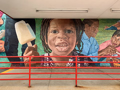 Ice Cream Social (Roblawol) Tags: adults africanamerican art artistic black blue cambridge cambridgeside child children colorful colors girl graffiti graffitiart green icecream ma massachusetts mural neighbors northamerica paintedstreetart paintedwallart people popsicle red streetart wall