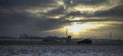 Good Morning, Edmonton! (VanveenJF) Tags: canada highway car fujifilm x100t snow winter sunrise eastside edmonton alberta seaons climate driving