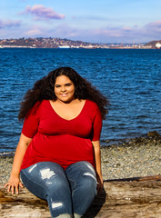 Senior Photo 11/10/18 No 12 (jenelle.melchior) Tags: girl model person beach portrait landscape ocean sea seattle sky clouds blue log rocks