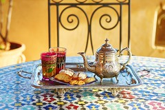 506197818 (luxurymarrakech) Tags: vibrantcolor nopeople gourmet medinadistrict arabicstyle drinkingglass teapot dessert snack islam elegance multicolored colors ancient cultures north marrakesh fezmorocco morocco northafrica africa mintleafculinary cafe restaurant street sweetfood teahotdrink drink kettle cookingpan table chair kingdom maghrib oriental