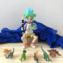 Queen of the Dinosaurs (Sasha's Lab) Tags: yotsuba koiwai よつば kawaii girl child play toy dinosaur queen manga cute revoltech action figure