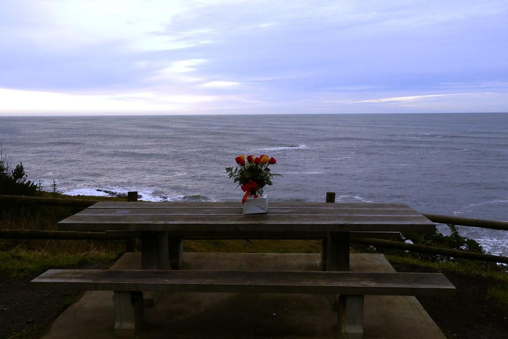 Romantic picnic table at Cape Arago State Park