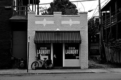 Coin Laundry with Bike (pjpink) Tags: urban fandistrict fan thefan rva richmond virginia october 2018 fall pjpink 2catswithcameras blackandwhite bw monochrome