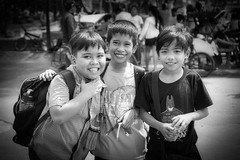 Schoolfriends (Beegee49) Tags: street boys smiling laughing happy planet portrait blackandwhite monochrome bw luminar sony a6000as silay city philippines asia childrens
