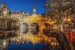 Blue Hour at Pulteney Bridge (Rich Walker Photography) Tags: bath somerset bluehour bridge river avon city landscape landscapes landscapephotography landmark landmarks historic history blue gold colour rivers canon england efs1585mmisusm eos100d eos