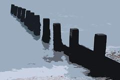 Groynes (fstop186) Tags: groynes solent graphic beach sea breakwaters