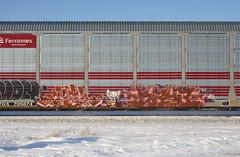 Osek/Kaya (quiet-silence) Tags: graffiti graff freight fr8 train railroad railcar art osek kaya kayas kfw autorack ferromex ttgx705674