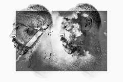 amorphous (Gerrit-Jan Visser) Tags: bewerkt manipulation artistic portrait expression image blackandwhite face amorf surrealist self introspection dream disappear merge together melancholy change dust clouds head