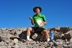Dry Cereal and Milk (Chris Hunkeler) Tags: chile cereal morning breakfast outside eating desert shorts man check cacao