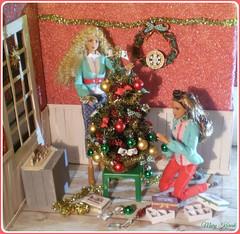 19.advent day - advent calendar with dolls (Mary (Mária)) Tags: barbie holiday christmas christmastree advent bethlehem ornaments indoor doll mattel wreath calendar handmade marykorcek