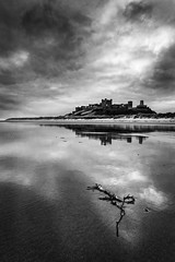Dull Dawn in B&W (Chris Lishman) Tags: bamburgh bamburghcastle northumberland sunrise dawn blackandwhite castle beach sea northeast bamburghbeach coastal sand seaweed tide lowtide iconic