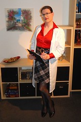My current studies say... (Rikky_Satin) Tags: silk satin blouse checkered skirt pantyhose pumps crossdresser transvestite tgirl tgurl