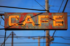 Cafe (Ian Sane) Tags: ian sane images cafe neon sign bertielouscafe southeast 17th spokane street vintage sellwood oregon power lines texture decay canon eos 5ds r camera ef70200mm f28l is usm lens