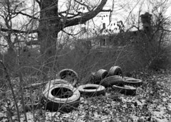 Tires and House (Nickademus42 (Thank you for 1 million views)) Tags: ilford delta 100 kamiya 645 kentucky abandoned house black white film 45mm