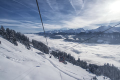 Up to the heaven (mystero233) Tags: cablecar ski skiing winter snow white cold fog mist alps wildkogel austria europe mountains mountain hillvalley inversion tree forest cottage sky blue sunrise sun cable sport