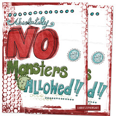 No Monsters Allowed, Cute Kids Printable (Carrie Stephens) Tags: clipart graphics illustrations artprints printableart etsy digitaldownload gift digitalart art artprint illustration illustrator photoshop children printable monster cute nursery handlettered handdrawn etsyart