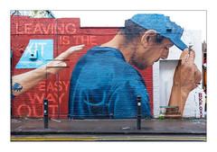 Street Art (BKFOXX), East London, England. (Joseph O'Malley64) Tags: bkfoxx streetartist streetart urbanart publicart freeart graffiti mural muralist wallmural wall walls partiallydemolishedbuilding eastlondon eastend london england uk britain british greatbritain urban urbanlandscape thebuiltenvironment newtopography newtopographics manmadeenvironment manmadestructure victorian victorianstructure architecture architecturalphotography britishdocumentaryphotography documentaryphotography brickwork bricksmortar cement pointing lintels doorways doors woodendoors entrances exits wiring electricalwiring junctionboxes flue vent buddleia buddleiaflorets pavement accesscover bollards concrete granitekerbing tarmac doubleyellowlines noparkingatanytime parkingrestrictions fujix fujix100t accuracyprecision