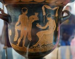 Sicilian Greek domestic scene, c 460 BCE (peter.a.klein (Boulanger-Croissant)) Tags: agrigento sicily greek ancient hellenic vase pottery amphora urn domestic man woman duck cat