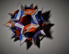 Origami Watchtower Modular (Tankoda) Tags: origami paper art travis nolan tankoda watchtower modular three color kami 30 sheet kusudama blue purple orange odt ioio
