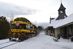 The Virginian at the Westport Station (ERIE1960) Tags: railroad railfan railroadstation trains locomotive newyorkrailroads norfolksouthern canadianpacific heritageunit train trainsinsnow emd sd70ace westportny adirondacks freighttrain