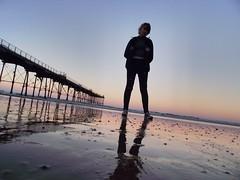 Perspective (johncovercox) Tags: perspective girl sunset sea coast beach pier england seaside saltburnpier saltburn