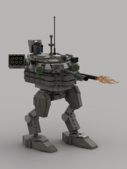 T-90MS Battle Mech (Showcase)1 (demitriusgaouette9991) Tags: lego military ldd army armored powerful railgun russian mecha lasergun whitebackground walker turret flames lasers future