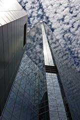 La tour dans les nuages 2 (maggy le saux) Tags: torrebuildingskycraper gratteciel costaneracenter santiago chile nubes nuages cloud bleuetblanc contreplongée lowangle lignesdefuite vanishingpoint reflection