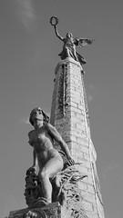 Aberystwyth - war memorial at the castle (Dubris) Tags: wales ceredigion aberystwyth seaside coast castle warmemorial statue sculpture bw monochrome