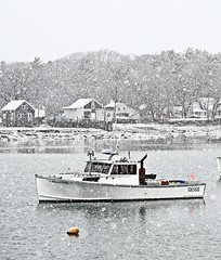 No lobstering today (Robert Dennis Photography) Tags: snowstorm lobsterboat maine kennebunkport capeporpoise