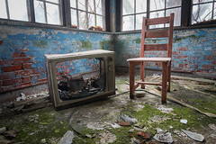 Tune In, Drop Out (Marissa Mancini, R.T.(R)) Tags: nikond600 detail photography photo nikon history asylum abandoned urbex explore exploration self window light dark abandonment derelict ue decay decaying decayed forgotten beautiful ruin ruins exploring abandon tv television tube chair