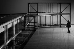 emergency exit (heinzkren) Tags: schwarzweis blackandwhite monochrome panasonic lumix urban architecture architektur lines treppe notausgang notausstieg emergency exit building man human silhouette shadow magical mystery fantasie wien vienna stairs stairway fireescape escape composing vision utopie
