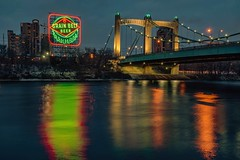 Holiday Cheer (Doug Wallick) Tags: grainbelt beer sign holiday reflection cold mississippi river minneapolis minnesota riverfront hennepin bridge long exposure ledlights colorful