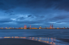 Seaforth Docks, Port of Liverpool (Philip Brookes) Tags: seaforth docks liverpool port water river shore coast crane gantry thebluehour bluehour mersey merseyside newbrighton wirral england unitedkingdom britain winter cloud sky