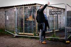 Temporary Structure (stevedexteruk) Tags: banksy art street mural snow boy selfie fire porttalbot wales 2019 garage fence temporary structure