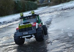 Crashing the ice (captain_joe) Tags: toy spielzeug 365toyproject lego minifigure minifig moc car auto jeep 6wide ice eis pfütze puddle