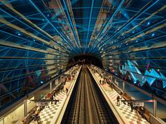 The grand opening (explored) (PortViewR) Tags: bahnhofebbrücken hamburg nacht u4 opening metro station germany night illumination eröffnung hochbahn hha hvv