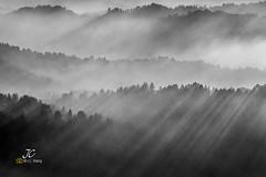 Light, Fog and Mountain (J. C. Wang, Ph.D.) Tags: sun rays fog mist mountains black white landscape ngc