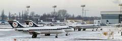 Yak-40s 039, 040, 041, 042 WAW 180293 (kitmasterbloke) Tags: waw warsaw warsawa lot polska poland 1993 ilyushin yakelov airport aircraft outdoor snow cold freezing aviation