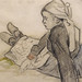 GAUGUIN,1886 - Jeune Bretonne assise (Quai Branly) - Detail 03