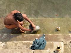 varanasi 2017 (gerben more) Tags: varanasi benares man back washing india