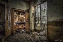 Over here, as you can see, we have the kitchen ! (Yamabxl) Tags: cuisine abandoned abbandonato creepy kitchen decay derelict dereliction forgotten forbidden france ghost gloomy hdr highdynamicrange hidden lostplaces prohibed prohibé urbex urbanexploration urbexhdr verfall verlassen verlaten
