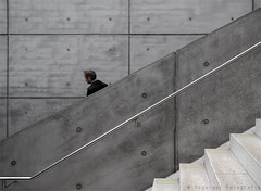 Caught (henny vogelaar) Tags: germany station concrete stairs people streetphotography diagonaal color leipzig architecture maxdudler ubahn infrastructure transportation transparent billion euro city tunnel