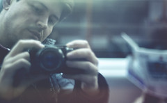 In Transit (ross.colgan) Tags: dof pentax 50mm f14 vintage lens sony nex6 commute transit selfie reflection train window camera selfportrait depressing mundane boring london uk underground tube travel tunnel life