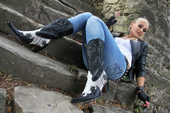 Anna 126 (The Booted Cat) Tags: sexy blonde model girl tight blue jeans leather cowboyboots cowgirl boots jacket gloves